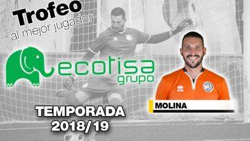 Carlos Molina, vencedor del V Trofeo Ecotisa al mejor jugador de la temporada