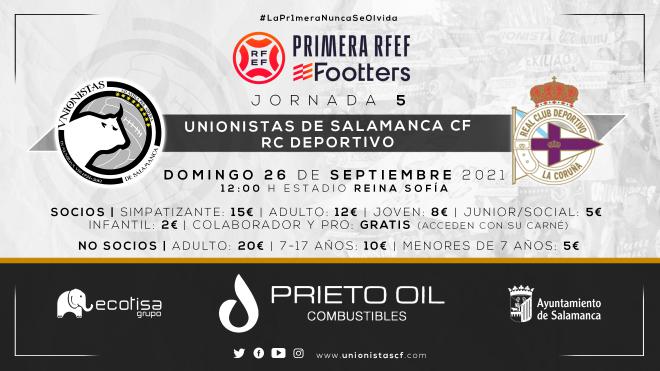 ENTRADAS   Unionistas de Salamanca - RC Deportivo, declarado día de ayuda al club